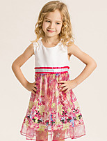 Girl's Cotton Summer Fashion Princess Dress Sleeveless Printing Dress