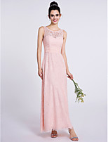 Lanting Bride Ankle-length Lace Bridesmaid Dress Sheath / Column Scoop with Lace