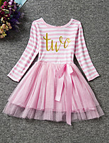 Girl's Casual/Daily Striped Dress,Polyester Spring / Fall Black / Pink / Purple