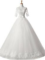 볼 드레스 웨딩 드레스 바닥 길이 스쿱 새틴 / 튤 와 아플리케 / 허리끈 / 리본