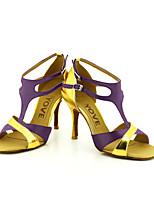Chaussures de danse(Noir / Bleu / Jaune / Rose / Violet / Rouge / Blanc) -Personnalisables-Talon Personnalisé-Satin / Similicuir-Latine /