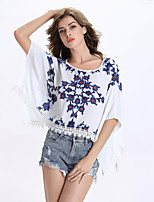 Women's Casual/Daily Sophisticated Summer Blouse,Print Round Neck ½ Length Sleeve White Others Medium