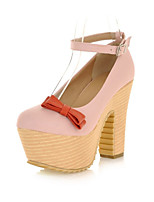 Women's Shoes Leatherette Chunky Heel Heels / Platform / Round Toe Heels Office & Career / Dress / Pink / Beige