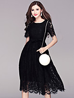 BOMOVO® Women's Round Neck Short Sleeve Midi Dress-B16XQ6E