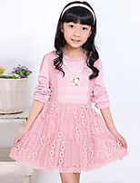 Girl's Casual/Daily Solid Dress,Rayon Spring / Fall Pink / White