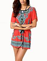 De las mujeres Boho Casual/Diario Verano Camiseta,Escote Redondo Estampado Manga Corta Algodón Naranja Fino