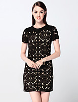 Boutique S Women's Going out Sophisticated Sheath Dress,Patchwork Round Neck Above Knee Short Sleeve Black Polyester