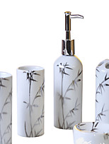 cylindrical Silver bamboo pattern Bathroom Five piece suit+Box