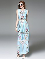 Angel Women's Going out Street chic A Line Dress,Print Round Neck Maxi Sleeveless Blue Polyester Summer
