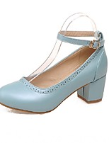 Women's Shoes PU Summer / Round Toe Heels Office & Career / Casual Chunky Heel Buckle Black / Blue / Pink / White