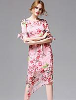 AFOLD® Women's Round Neck 1/2 Length Sleeve Knee-length Dress-5680