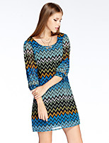 Women's Going out Simple Loose Dress,Print Round Neck Above Knee ¾ Sleeve Blue / Red Polyester Summer