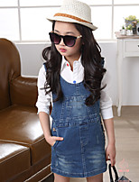 Girl's Cotton Spring/Summer/Fall Fashion Casual Style Cowboy Suspenders Skirt