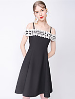 TAMMY TANGS  Women's Street chic Patchwork A  Dress,Strap Knee-length Polyester