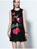 Boutique S Going out Sophisticated A Line Dress,Embroidered Round Neck Above Knee Sleeveless Black Polyester