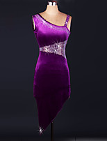 Performance Dresses Women's Performance Velvet Crystals/Rhinestones 3 Pieces Grape Latin Dance Sleeveless High Dress
