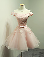 Short / Mini Organza Bridesmaid Dress Ball Gown Off-the-shoulder with Appliques / Bow(s) / Sash / Ribbon
