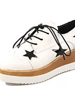 Women's Heels Summer Round Toe PU Casual Wedge Heel Lace-up Black / White Others