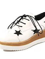 Damen-High Heels-Lässig-PU-KeilabsatzSchwarz Weiß