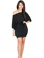 Women's Going out Cute Street chic Plus Size Dress,Solid Boat Neck Above Knee ½ Length Sleeve Red Black Polyester Summer