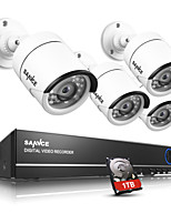 SANNCE® 4CH AHD DVR 4PCS 720P IR Cut Indoor Outdoor CCTV Camera Home Security Surveillance Kits CCTV System Built-in 1TB