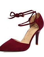 Women's Shoes Fleece / Glitter Stiletto Heel Heels / Pointed Toe Heels Wedding / Dress Black / Red / Camel