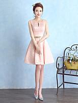 Short / Mini Satin Bridesmaid Dress Sheath / Column Notched with Sash / Ribbon