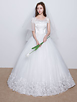 Ball Gown Wedding Dress Floor-length Scoop Lace / Satin / Tulle with Appliques / Beading / Lace / Ruffle