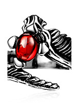 Fashion jewelry Men's ring The ancient Maya Punk wind dragon spit bead  red zircon 316 l steel ring for party GMYR242