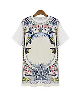 Women's Casual/Daily Vintage Summer T-shirt,Floral Round Neck ½ Length Sleeve White / Black Polyester Opaque