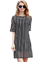 Women's Simple / Street chic Striped Classic Hin Thin Color Block Plus Size / Shift Dress,Round Neck Above Knee