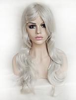 parrucca di colore argento cosplay parrucca di seta i capelli ricci alta temperatura 26 pollici
