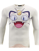 maniche lunghe 3d tasca maglietta costumi piccolo mostro di stampa cosplay t-shirt abbigliamento geek girocollo per maschio / femmina