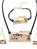 European Style Fashion Simple Bicycle Lover Necklace Bracelet Earring Set