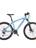 Mountain Bike Men's Air Suspension Fork Double Disc Brake Aluminium 27Speed 26 Inch Aluminium Blue
