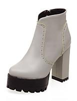 Mujer-Tacón Robusto-Plataforma / Botas a la Moda-Botas-Vestido / Casual-Semicuero-Negro / Amarillo / Rojo / Gris