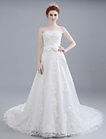 Ball Gown Wedding Dress Chapel Train Bateau Lace / Satin / Tulle with Beading / Lace