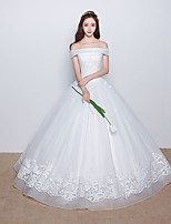 Ball Gown Wedding Dress Floor-length Off-the-shoulder Satin / Tulle with Appliques / Beading