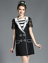 Summer Women's Vintage Fashion Plus Size Lace Hollow Patchwork Print Color Block Dress