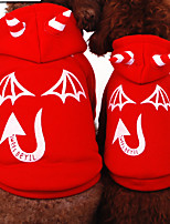 Cat / Dog Costume / Hoodie / Clothes/Jumpsuit Red / Black Winter / Spring/Fall Angel & Devil Halloween, Dog Clothes
