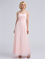 Lanting Bride Ankle-length Chiffon Bridesmaid Dress Sheath / Column Sweetheart with Criss Cross / Ruching