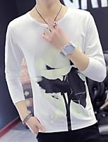 Men's Long Sleeve T-Shirt,Cotton Casual Print