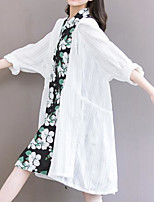 Women's Party/Cocktail Street chic Trench Coat,Solid V Neck Long Sleeve Summer White Linen Thin