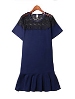 Women's Casual/Daily / Plus Size Simple Dress,Patchwork Round Neck Mini Short Sleeve Blue / Black / Yellow Cotton Summer