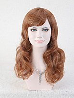 Capless Brown Color High Quality Middle Length Natural Curly Synthetic Wig