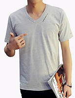 Men's Fashion Letter Decoration Solid V Collar Slim Fit Short-Sleeve T-Shirt;Casual/Cotton/Plus Size