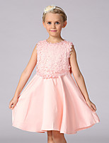 A-line Knee-length Flower Girl Dress - Lace / Satin Sleeveless Jewel with