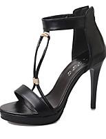 Women's Shoes PU Summer Heels Sandals Dress / Casual Flat Heel Others Black / White