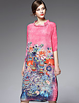 AFOLD® Women's Round Neck 1/2 Length Sleeve Knee-length Dress-5521