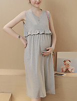 Maternity Casual/Daily Simple Loose Dress,Solid V Neck Knee-length Sleeveless Gray Cotton Summer
